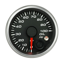 Revolution 2 5/8 Inch Oil Pressure Gauge 100psi with Memory